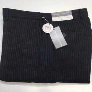 MICHAEL BRANDON Mens 34 Black Wool Pinstripe Pants